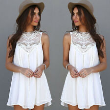 Women Summer Casual Sleeveless Evening Party Beach Dress Short Mini Dress Sexy