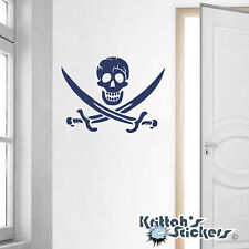 Cracked Skull Jolly Roger Pirate Vinyl Wall Decal - removable sticker K019-W