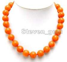 "SALE Big 15-16mm High Quality Round Orange Natural Coral 17"" Necklace'-nec5214"