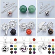 Hollow Aromatherapy Cage Locket Pendant Gemstone Bead Chain Necklace Womens Gift