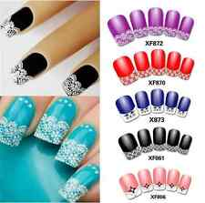 French 3D Nail Art Decal Stickers French Tip White Lace Floral Designs