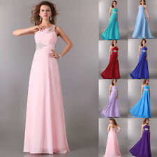 One Shoulder Long Bridesmaids Formal Evening Party WEDDING Gown Chiffon Dress