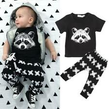 Infant Baby Boys Clothes Raccoon T-shirt Tops Pants Summer Outfit 2pcs Set 0-24M