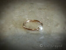 Captive Ring Navel Belly Septum Hoop Gold / Silver made with Swarovski Pearl