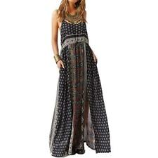 Boho Women Sexy Open Back Strap Long Maxi Printed Dress Party Full Length Dress