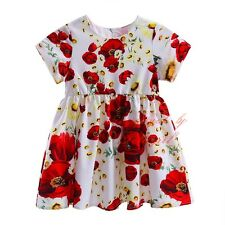 Girls Floral Print Red Flower Dress Kids Summer Holiday Birthday Party Dresses