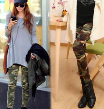 FD1604 Sexy Womens Camo Camouflage Stretch Trousers Army Green Tights Pants^