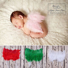 Top Newborn Baby Kids Feather Angel Wings Photo Props Costume Dress 4 Colors CF