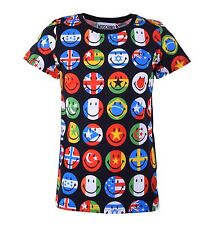 MOSCHINO COUTURE Smiley T-Shirt with Flags Print Black Cotton 04459