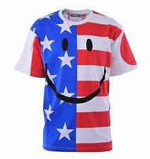 MOSCHINO COUTURE Smiley T-Shirt with UK USA Italy Japan Flags Print Cotton 04461