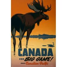 Canada Big Game Moose Canadian Pacific Tourism Travel Ad Vintage-Style Poster