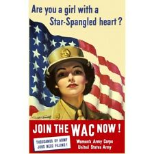 WWII Girl With Star-Spangled Heart WAC Women's Army Corps Vintage-Style Poster