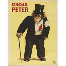 Consul Peter Monkey Chimpanzee In Top Hat & Tails Circus Ad Vintage-Style Poster
