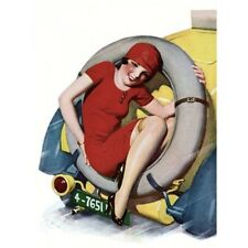 Pin Up Girl Vintage-Style Poster Brunette Sitting In A Car Spare Tire