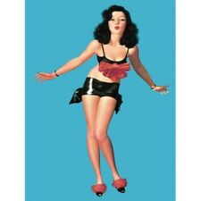 Pin Up Girl Vintage-Style Poster Brunette in Black with Big Red Bow