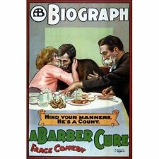 A Barber Cure 1913 Vintage-Style Movie Poster