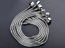 New Bulk Lots Silver Plated Classic Snake Charm Snap Clasp European Bracelet