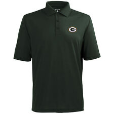 Green Bay Packers Antigua Embroidered Pique Xtra-Lite Green Polo Golf Shirt