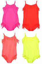 Girls Swimming Costume Fringe Bathing Suit Tassel Swim Suit Neon 3 to 14 Years