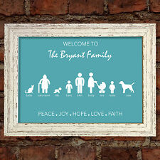 Welcome to my Family Print Picture Birthday Gift PERSONALISED Shabby Chic #8