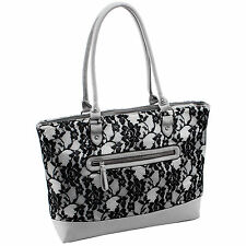 Parinda Womens Aaryn Quilted Fabric with Faux Leather Tote