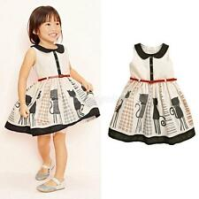 Toddler Kid Baby Girl Sundress Sleeveless Cartoon Princess Dress Tutu Skirt 2-7Y
