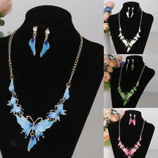 Women Elegant Enamel Butterfly Pendant Necklace Earrings Set Silver Plated Chain