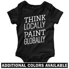 Think Locally Paint Globally One Piece - Baby Infant Creeper Romper NB-24M - Art