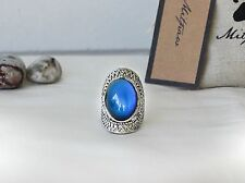 Antique Silver Plating Oval Stone Mood Ring
