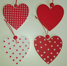 Wooden hanging HEART decoration red love POLKA DOT gift tag NEW Christmas spotty