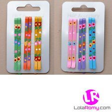 6 Girls Brightly Coloured Floral 6cm Hair Grips *BRAND NEW*