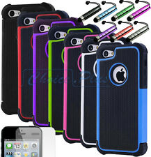 Hybrid Rugged Impact Rubber Matte Hard Case Cover for iPhone SE w/ Screen Guard
