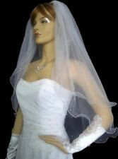 New 2T white/ivory wedding veil bridal vail Wrist long veils with bead+comb