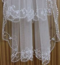 White / Ivory 2T Wedding Veil Bridal vails Beaded Edge bride Veil with Comb