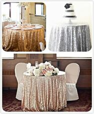 """108"""" Round Sequin Tablecloth For Wedding/Event/Party/Banquet,choose colors!!"""