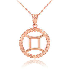 14k Rose Gold Gemini Zodiac Sign in Circle Rope Pendant Necklace