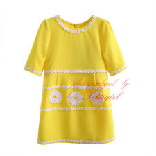 Yellow Flower Girl Dresses Half Sleeve Clothes Children Summer Dress Kid Costume