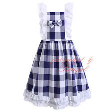 Child Girls Dress Sleeveless Cotton Plaid Casual Summer Holiday Princess Party