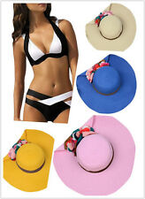 Womens Bikini Sets Push-Up Beach Wear Swimwear Black White Bandage or Beach Hats