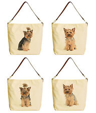 Yorkshire Terrier Beige Printed Canvas Tote Bag with Leather Strap WAS_29