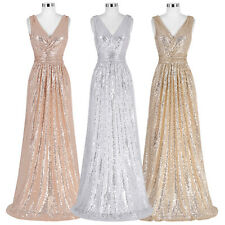 New V-Neck Sequined Long Formal Bridesmaid Wedding Evening Dress Party Prom Gown