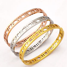 New Stainless Steel Jewelry Hollow Roman Numerals Letter Classic Bangle Bracelet
