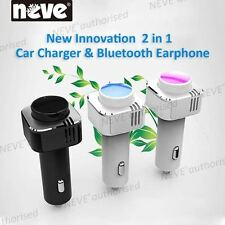 Bluetooth Handsfree Earphone + Mic & Car Charger Kit For Iphone Samsung Sony GPS