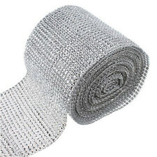 "4.7"" Silver Diamond Mesh Party Decor Trim Wrap Roll Glitter Rhinestone Crystal"