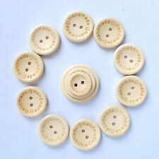 50PCS New Wooden Round Handmade Love Sewing Butterfly 2 Holes Buttons DIY