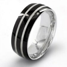 Men's Black-Plated Stainless Steel Etched Double Striped Ring. Brand New