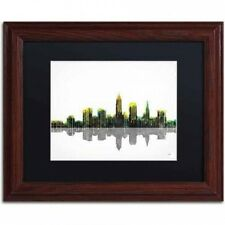 "Marlene Watson ""Cleveland Ohio Skyline"" Matted Framed Art. Free Shipping"