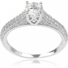 Alexandria Collection Women's Round-Cut CZ Sterling Silver Engagement Ring. Huge