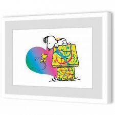 Peanuts Woodstock and Snoopy Rainbow Heart Framed Art Print. Huge Saving