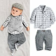Baby Boy Wedding Birthday Party Formal Shirt+Vest+Pants Suit Outfits Clothes Set
